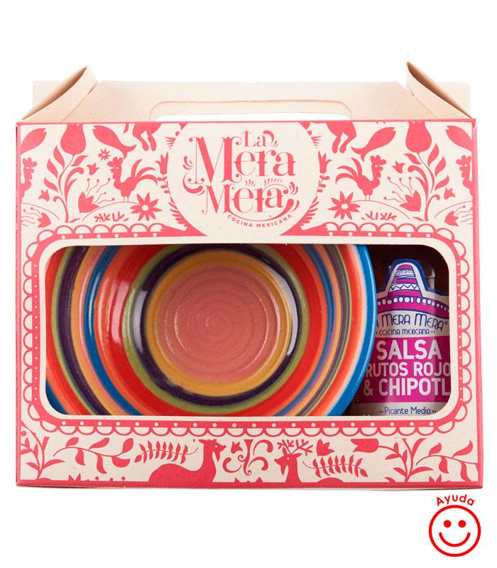 Kit salsera pottery diseño la mera mera y salsa a elegir